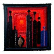 Omaggio a Morandi n.1 - Lavorazione a telaio, juta, lana, perle, seta - h 115x115 cm- 1992
