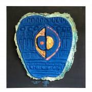 Resinografia n.15b - La Mela Bleu  - Colori ecoline e oro su carta fatta a mano - h 53x43 cm - 2014