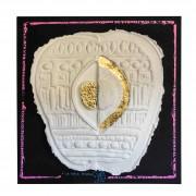 Resinografia n.15c - La Mela Bianca - Colori ecoline e oro su carta fatta a mano - h 54x43 cm - 2014