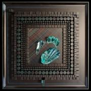 Omaggio a Archimede Seguso n.9 - Legno a più spessori, tempera, inserimento in vetro di Archimede Seguso -  80x80 cm - 1992