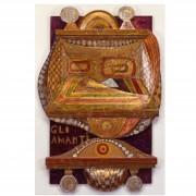 Gli Amanti- Tavola a più spessori, tempere, cere, oro- h 99x67x6 cm