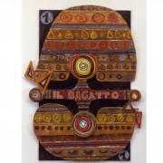 1) Il Bagatto- Tavola a più spessori, tempere, cere, oro- h 93x70x6 cm- 1987