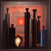 Omaggio a Morandi n.67- Legno a più spessori, tempere, acrilici, colori a cera- h 120x120 cm- 1992