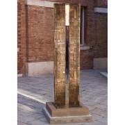 Riflesso - Bronzo, fusione a cera persa con inserimento in vetro di Murano - h 200x50x10 cm - 2001