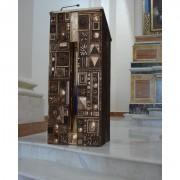 Ambone - Bronzo, fusione a cera persa con inserimenti in vetro di Archimede Seguso illuminato - h 140x45x60 cm - Chiesa SS Annunziata, Sant'Agata Li Battiati (CT) 2006