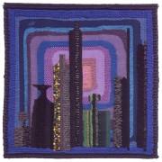 Omaggio a Morandi n.2 - Lavorazione a telaio, juta, lana, perle, seta - h 120x120 cm - 1993
