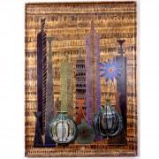 Omaggio ad Archimede Seguso n.3. Bottiglie-  Legno a più spessori, oro, colori a cera, tempere, inserimento vetro di Archimede Seguso- h 96x132 cm- 1992