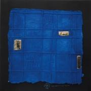 Resinografia n.13a - La Graticola - Colori ecoline e oro su carta fatta a mano - 50x50 cm - 2011