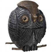 Gufo  - Marmo bianco Lasa e nero Marquinia con inserimenti in bronzo - h 37 cm - Venezia, 2018