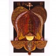 5) Il Papa- Tavola a più spessori, tempere, cere, oro- h 96x56x6 cm- 1987