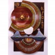19) Il Sole- Tavola a più spessori, tempere, cere, oro- h 100x66x10 cm- 1987