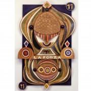 11) La Forza- Tavola a più spessori, tempere, cere, oro- h 96x62x8 cm- 1987