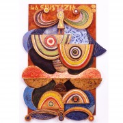 8) La giustizia- Tavola a più spessori, tempere, cere, oro- h 95x68x10 cm- 1987