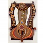 06) L'angelo- Tavola a più spessori, tempere, cere, oro- h 100x64x8 cm- 1987
