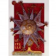 17) Le Stelle-  Tavola a più spessori, tempere, cere, oro- h 99x71x12 cm- 1987