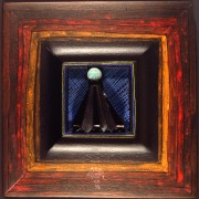 Omaggio a Morandi n.11- Legno a più spessori, tempere, acrilici, colori a cera- 28x28 cm- 1991