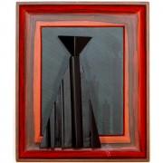Omaggio a Morandi n.14- Legno a più spessori, tempere, acrilici, colori a cera- 37x31 cm- 1991