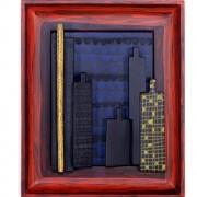 Omaggio a Morandi n.23- Legno a più spessori, tempere, acrilici, colori a cera- 37x31 cm- 1991
