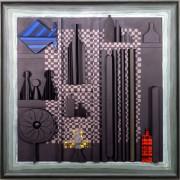Omaggio a Morandi n.28- Legno a più spessori, tempere, acrilici, colori a cera- 100x100 cm- 1991