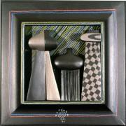 Omaggio a Morandi n.31- Legno a più spessori, tempere, acrilici, colori a cera- 28x28 cm- 1991
