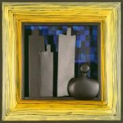 Omaggio a Morandi n.34- Legno a più spessori, tempere, acrilici, colori a cera- 28x28 cm- 1991