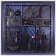 Omaggio a Morandi n.4 - Legno a più spessori, tempere, acrilici, colori a cera- 100x100 cm- 1991