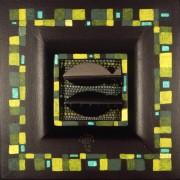 Omaggio a Morandi n.43- Legno a più spessori, tempere, acrilici, colori a cera- 28x28 cm- 1992