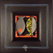 Omaggio a Morandi n.45- Legno a più spessori, tempere, acrilici, colori a cera- 28x28 cm- 1992