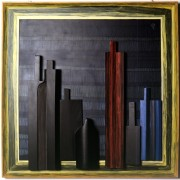 Omaggio a Morandi n.57- Legno a più spessori, tempere, acrilici, colori a cera- 100x100 cm- 1992