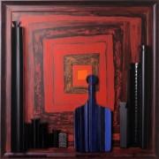 Omaggio a Morandi n.62- Legno a più spessori, tempere, acrilici, colori a cera- 80x80 cm- 1992