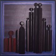 Omaggio a Morandi n.65- Legno a più spessori, tempere, acrilici, colori a cera- 120x120 cm- 1992