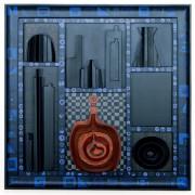 Omaggio a Morandi n.8 - Legno a più spessori, tempere, acrilici, colori a cera- 80x80 cm- 1991