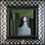 Omaggio a Morandi n.9 - Legno a più spessori, tempere, acrilici, colori a cera- 28x28 cm- 1991