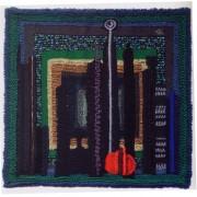 Omaggio a Morandi n.3 - Lavorazione a telaio, juta, lana, perle, seta - h 120x120 cm - 1993