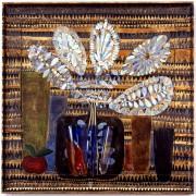 Omaggio ad Archimede Seguso n.8 -  Legno a più spessori, oro, colori a cera, tempere, inserimento vetro di Archimede Seguso- h 80x80 cm- 1992