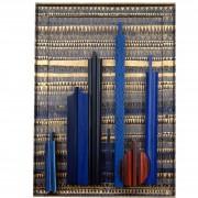 Omaggio a Morandi n.70- Legno a più spessori, tempere, acrilici,  oro- h 130x80 cm