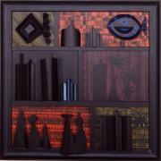 Omaggio a Morandi n.72- Legno a più spessori, tempere, acrilici, colori a cera- h 100x100 cm- 1991