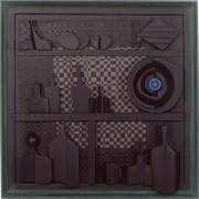 Omaggio a Morandi n.3- Legno a più spessori, tempere, acrilici, colori a cera- h 80x80 cm- 1991