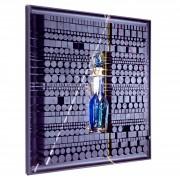 Pagine su Archimede Seguso n.11- Legno a più spessori, colori a cera, tempere con inserimento vetro di Archimede Seguso- h 100x100 cm- 1993