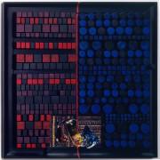 Pagine su Archimede Seguso n.4- Legno a più spessori, colori a cera, tempere con inserimento vetro di Archimede Seguso- h 80x80 cm- 1993