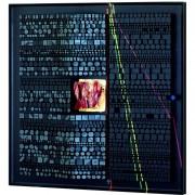 Pagine su Archimede Seguso n.12 - Legno a più spessori, colori a cera, tempere con inserimento vetro di Archimede Seguso- h 150x150 cm- 1993