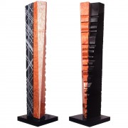 """Tower n.1"" - Red Verona marble, white Carrara and black Marquinia marble - h 53 in - 2004"