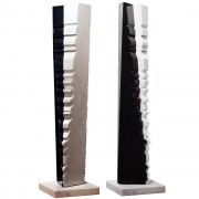 """Tower n.2"" -Black Marquinia and White Carrara marble - h 53 in - 2004"