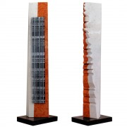 """Tower n.3"" - Red Verona marble, white Carrara and black Marquinia marble - h 53 in - 2013"