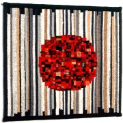 Arras with red sun- Woven processing- h 39,24x39,24 in - 1992