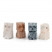 Owls n.15 - White Carrara marble, Green Alpi, Red Verona marble - h 4,7 in - 2013
