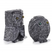 Owl n.14 - Black Marquinia marble - h 9,8 and 7,9 in - 2013