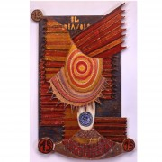 The devil- Table in several thicknesses, temperas, waxes- h 40,19x24,82x2,36 in - 1987