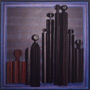 Homage to Morandi n.65- Multi-Thickness wood, tempera, acrylics -  32x32 in - 1992