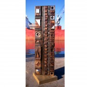 Stele, n.6 , side A - Bronze, lost wax casting - h 53x14 in - 2002
